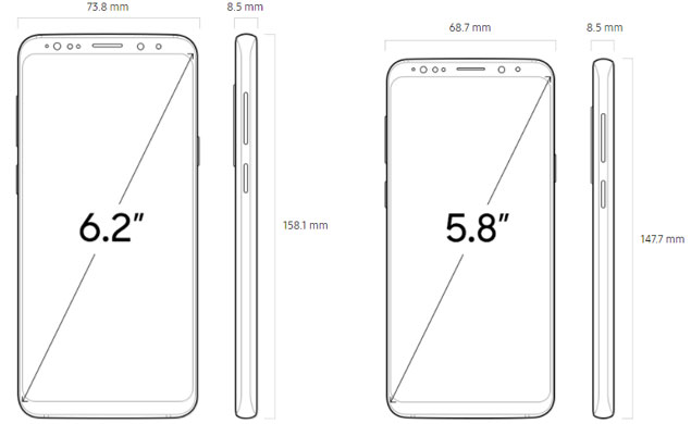 Abmessungen Galaxy S9